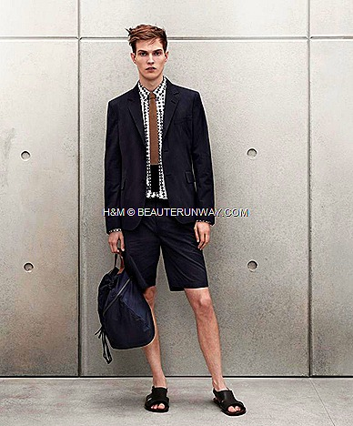 Marni H&M Mens Blazer,  Shirt, Tie, Tailored Shorts, Navy Blue Bag, Mens Black Leather Sandals