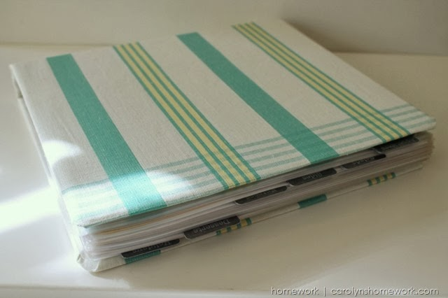 Organizing: Covered Recipe Binder via homework | www.carolynshomework.com