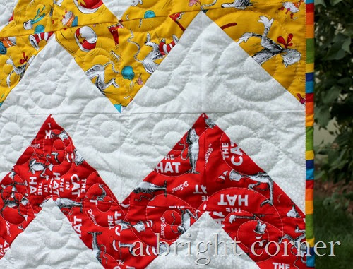 Quilting on a chevron quilt