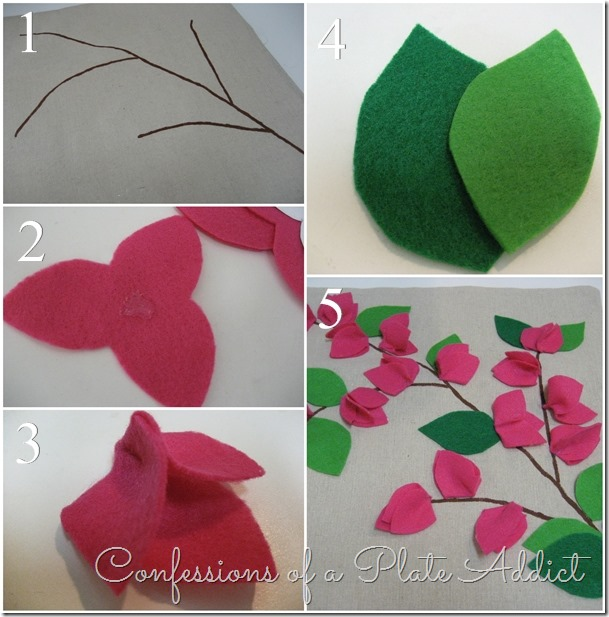 CONFESSIONS OF A PLATE ADDICT   POTTERY BARN Inspired No-Sew Bougainvillea Pillow tutorial