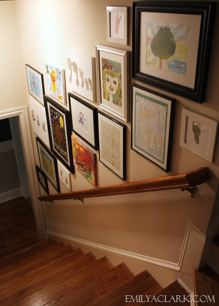 hanging frames in stairwell