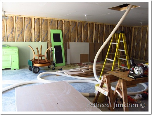 attic insulation going in Petticoat Junktion