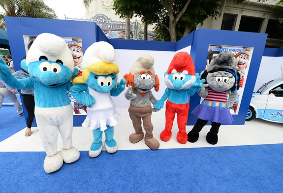 LOS ANGELES, CA - July 28, 2013: The Smurfs at the Los Angeles Premiere of Columbia Pictures and Sony Pictures Animation's SMURFS 2 at the Westwood Village Theatre.