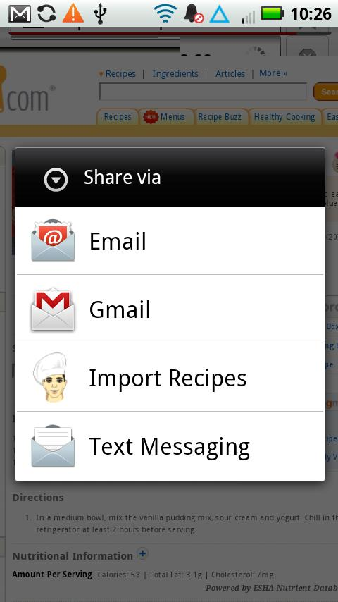 Digital Recipe Sidekick. - screenshot