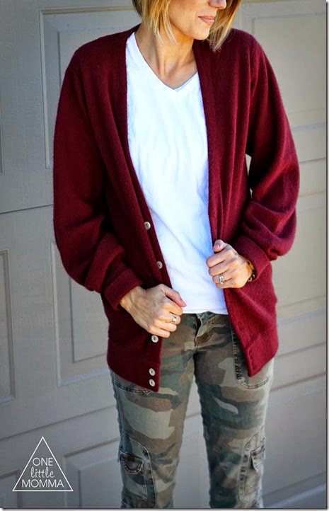 oxblood boyfriend cardigan, white v-neck and camo pants