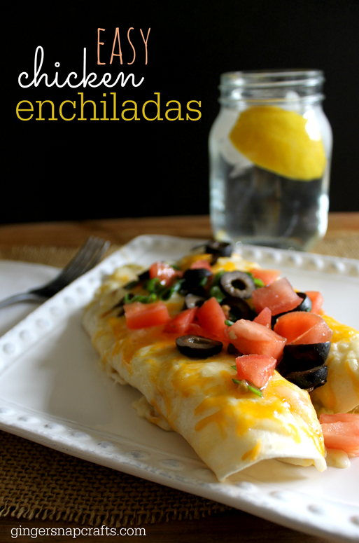 easy chicken enchiladas recipe at GingerSnapCrafts.com #recipe #enchiladas