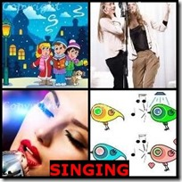 SINGING- 4 Pics 1 Word Answers 3 Letters