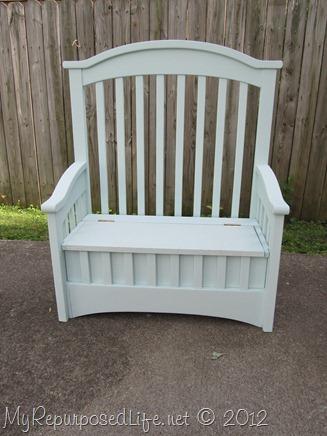 repurposed crib toy box bench