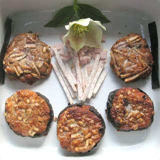 Taro Cakes with Shiitakes,Ham, and Scallions.