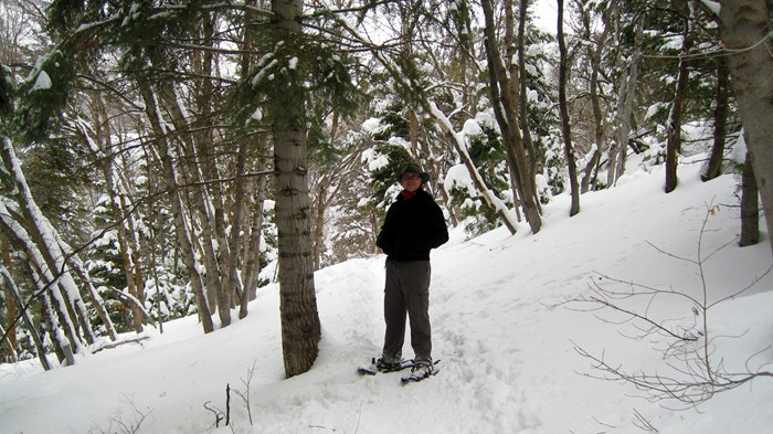 Taylor snowshoeing on Elbow Fork Trail in Millcreek Canyon Utah