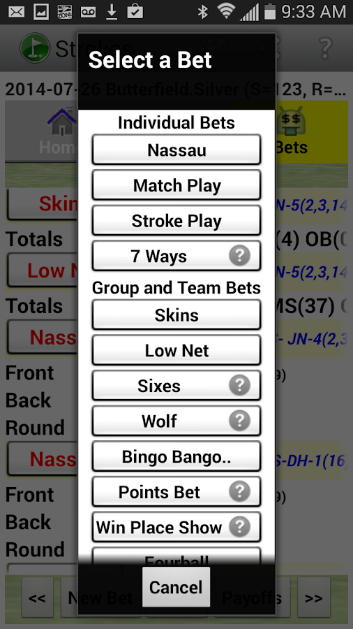 Golf Strokes & Bets- screenshot