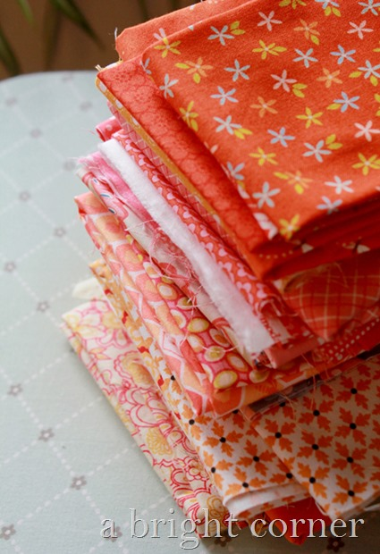 Stack of orange fabrics