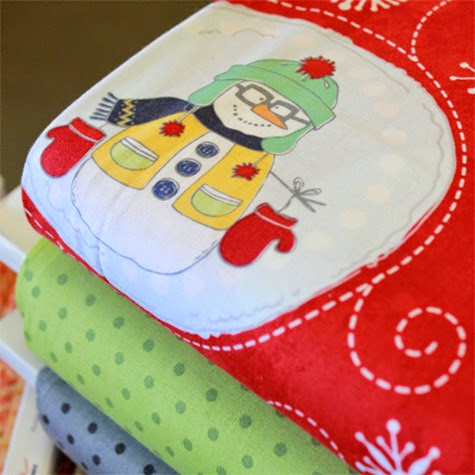 Flaky Pals snowman fabric 3