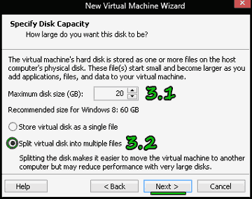 WMware:Specify Disk Capacity