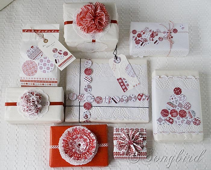 Songbird Christmas White Red Gift Wrapping 10