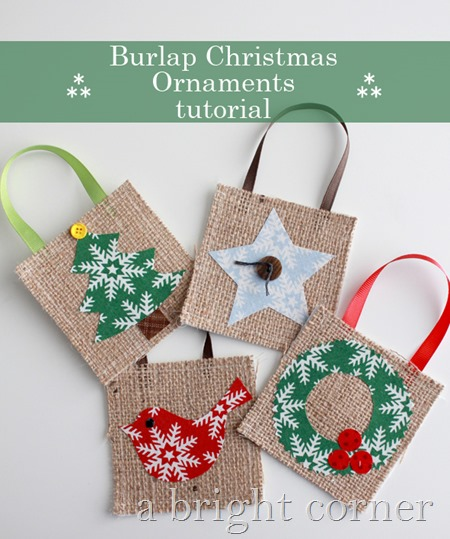 Burlap Christmas Ornament Tutorial