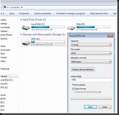Disk Format Options