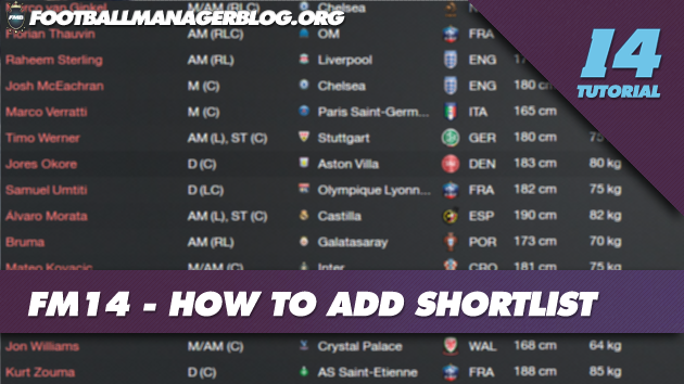 FM14 How to Add Shortlist
