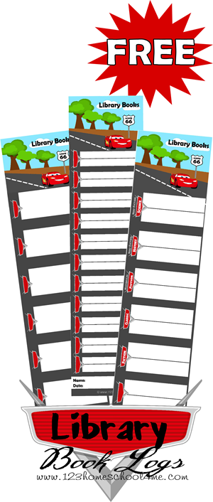 FREE Printable Disney Cars Library Book Logs #disneykids #booklogs #reading #homeschool #education