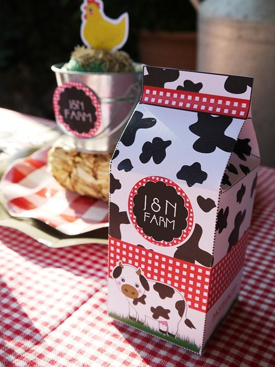Barnyard Birthday - Milk Carton Favor Box