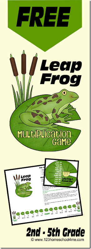 Cool Math Games - FREE Leapfrog Multiplication Math Games helps kids practice multiplying by 1s-12s in a fun game. This free printable game is perfect for 2nd, 3rd, 4th, 5th, and 6th grade students. Perfect for homeschooling kids.