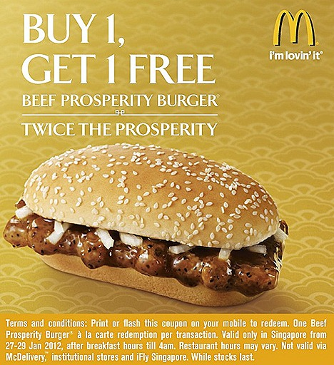 McDonalds Prosperity Beef Burger Buy 1 get 1 free flash coupon on mobile or print after breakfast hours