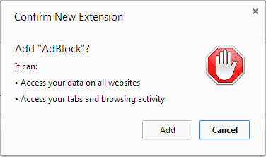 AdBlock install permissions - no mention of incognito anywhere