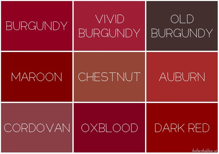 Burgundy Color Chart