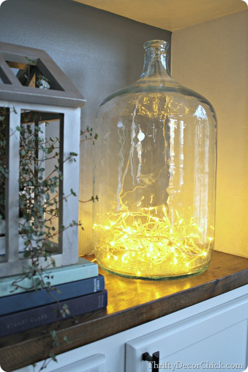 Christmas lights in jar