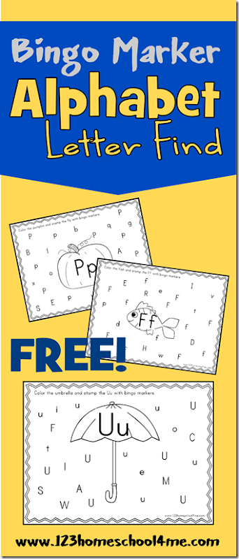 FREE Bingo Marker Alphabet Letter Find - FUN free printable alphabet worksheets to help  Preschool, Prek,  & Kindergarten kids practice identifying their letters Kids will love using bingo marker in this Alphabet Letter Find kids activity perfect for homeschool