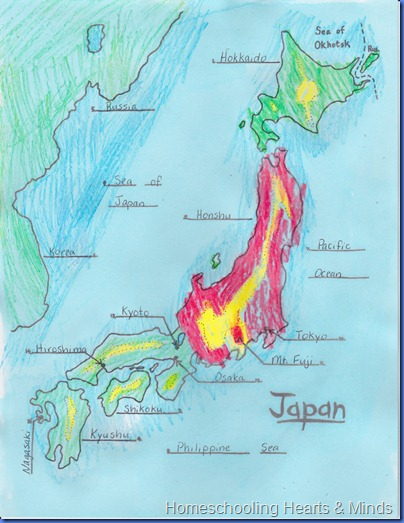 Japan map project from Ellen McHenry