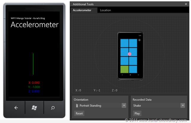 WP7.1 Demo - Expanded Accelerometer Window with Phone Emulator[9]