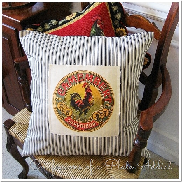 Confessions Of A Plate Addict French Ticking Pillow With Vintage