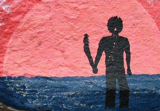 Rock art man silhouette