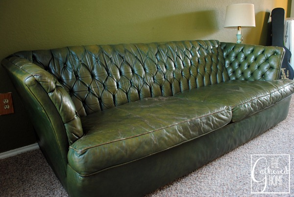 Found: Vintage Tufted Green Leather Sofa - The Gathered Home