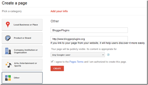 Creating Google Plus Brand Page - Pick Category