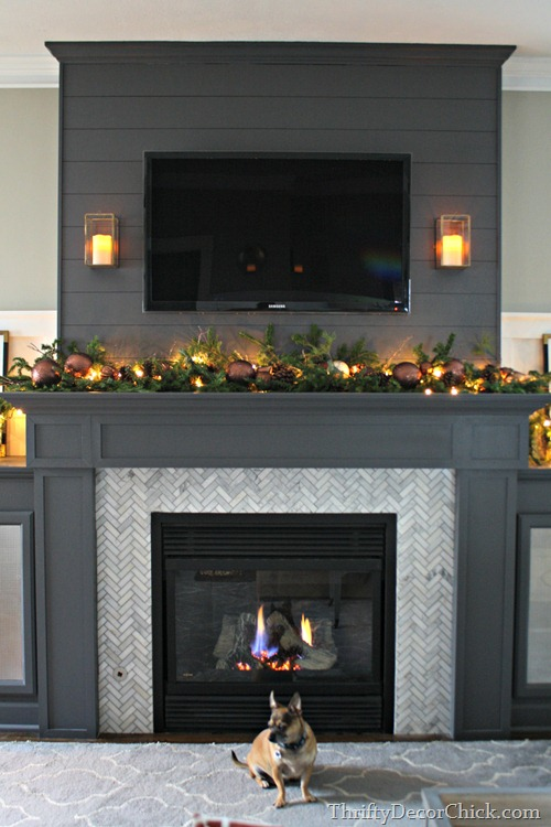 gray fireplace and built ins