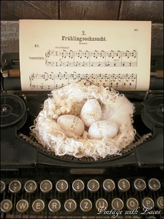 Spring Decor: Nest with Eggs on Typewriter - Vintage with Laces