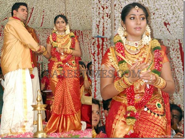 Navya Nair Wedding Saree South Indian Actress In Beautiful Red Designer Kanchipuram Bridal Silk With Pure
