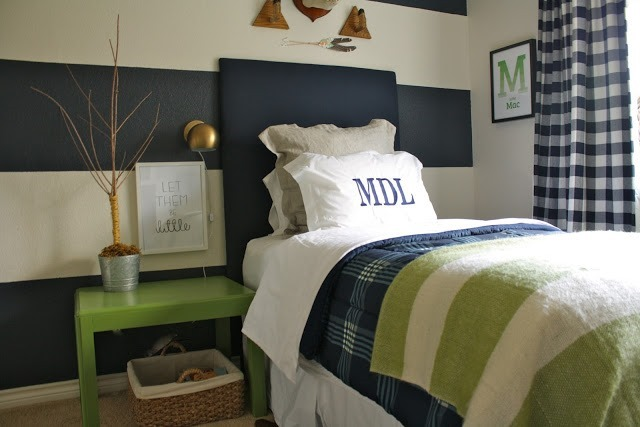 boys navy and green bedroom