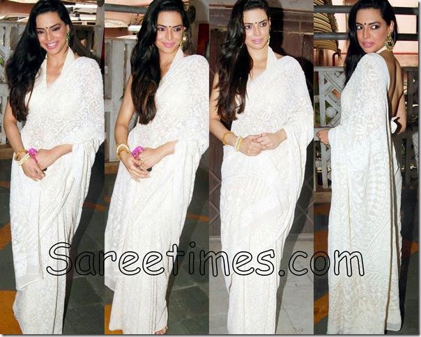 Swetha Bharadwaj in White Saree | sareetimes  Swetha Bharadwa...