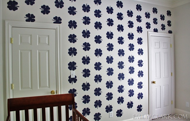 navy and white stenciled wall in nursery