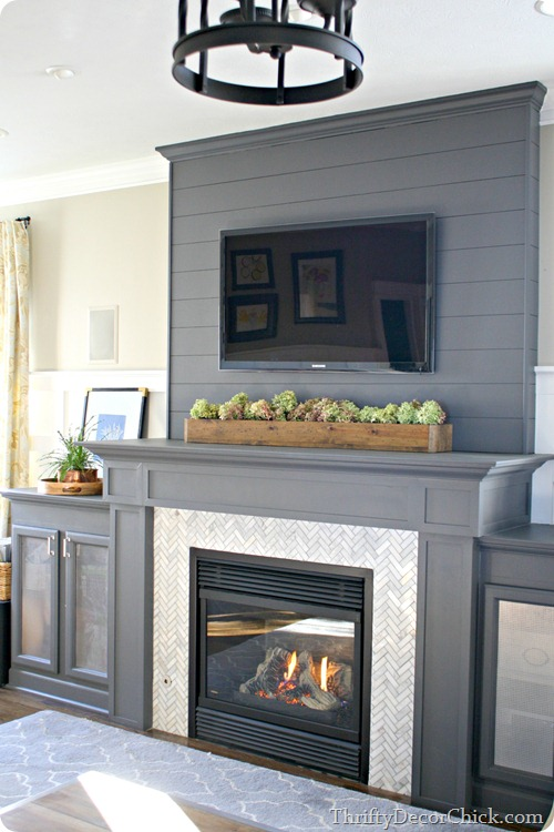 gray fireplace herringbone tile @thriftydecorchick