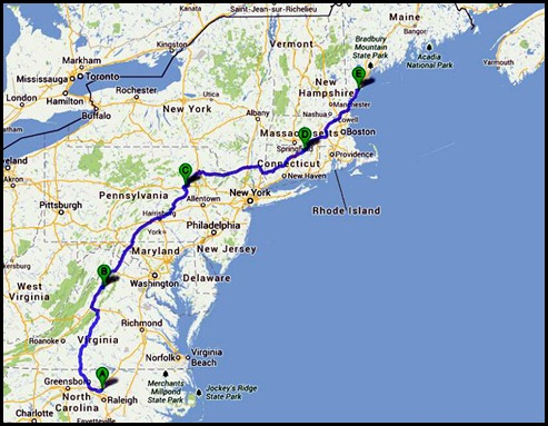 0 - Travel to Ocean View CG, Wells, ME  150 miles