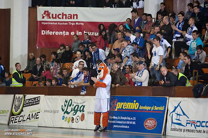 Galeria Tigrilor in timpul  partidei dintre BC Mures Tirgu Mures si U Mobitelco Cluj-Napoca din cadrul etapei a sasea la baschet masculin, disputat in data de 3 noiembrie 2011 in Sala Sporturilor din Tirgu Mures.