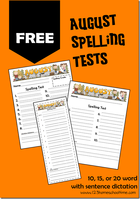 FREE August spelling tests! Includes various options for 10, 15, or 20 spelling words with or without dictation.