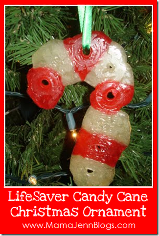 LifeSaver Candy Cane Christmas Ornament
