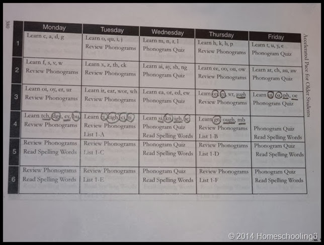Reading Lesson Schedule