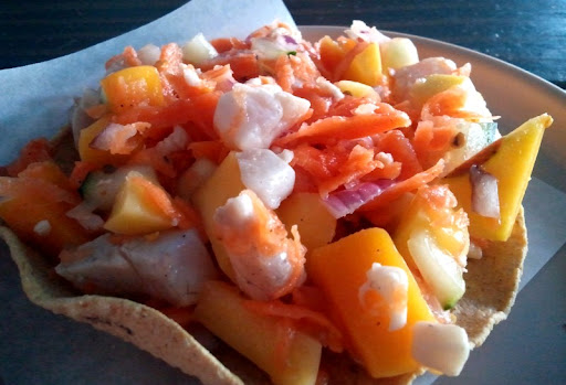Fish and mango tostada at Erizo Baja Fish House and Market in Tijuana