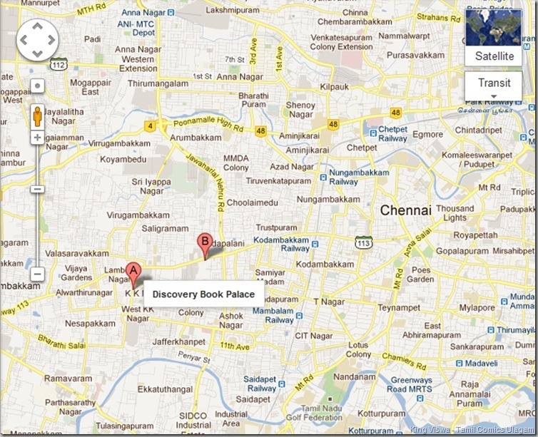 Discovery Book Palace West KK nagar Chennai Map